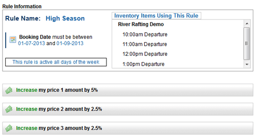 example of a high season pricing rule