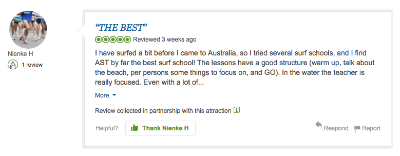 Example of a tripadvisor review express review for australian surf tours