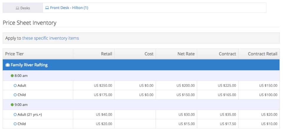 Create custom commissions and net rates using price sheets in Rezgo