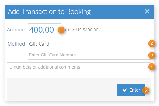 How to add a gift card transaction to a booking - Rezgo