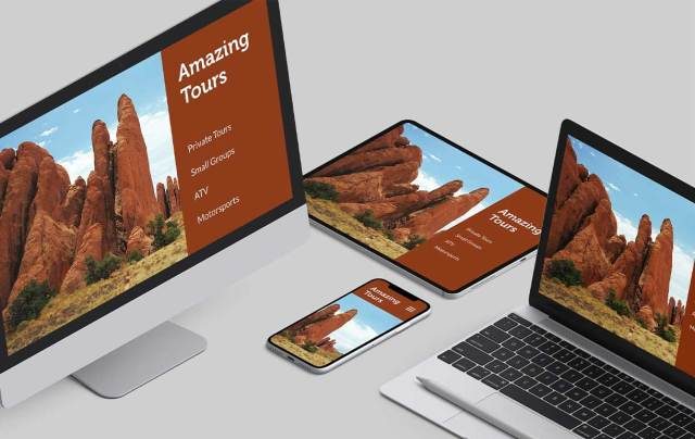 tour operator website on different devices screens