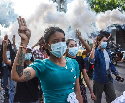 Women protesters march against the junta in Mandalay, Aug. 24, 2021. RFA