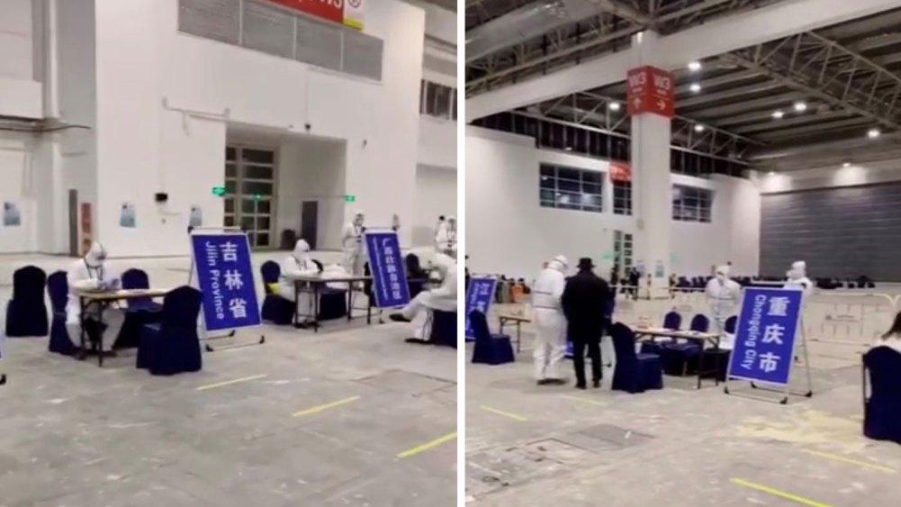 各省市驻京办人员在机场设置柜台,接走本地旅客,隔离14天。(视频截图)