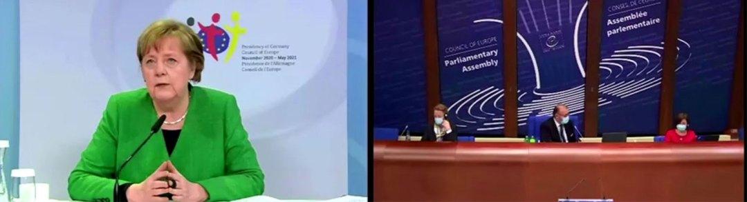 德国总理默克尔(Angela Merkel)20日在欧洲理事会上,公开对台湾的安全问题表达关切。(路透社视频截图)