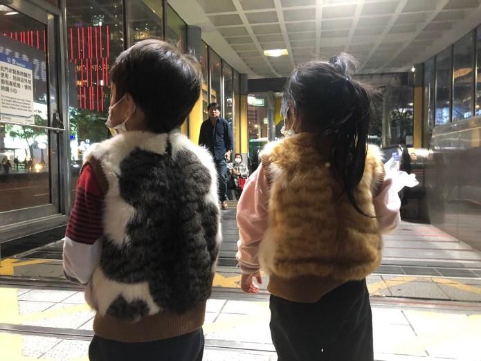 這對小兄妹穿著皮草背心、走在台北街頭,貓紋花色格外引人注目。 (麥小田攝影)