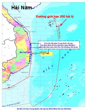 Vị trí tàu hải giám Trung Quốc cắt cáp tàu Bình Minh 02 của Việt Nam.