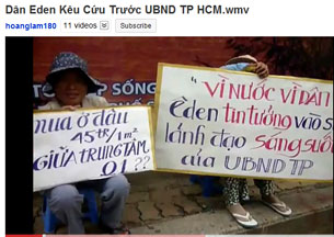 Dân oan EDEN kêu cứu trước UBND.TP HCM. RFA file