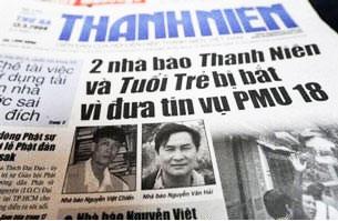 Hai nhà báo Nguyễn Việt Chiến và Nguyễn Văn Hải bị bắt vì đưa tin vụ PMU 18