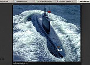 Tàu ngầm loại kilo 636 Việt Nam mua của Nga. RFA-Screen cap/ hoangsa.org