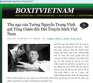 """Trang boxitvietnam.org với lá """"Thư ngỏ của Tướng Nguyễn Trọng Vĩnh gửi Tổng Giám đốc Đài Truyền hình Việt Nam"""""""