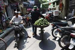 Một người bán trái cây dạo trên đường phố Hà Nội ngày 16 tháng 9 năm 2010. AFP PHOTO / HOANG DINH Nam.