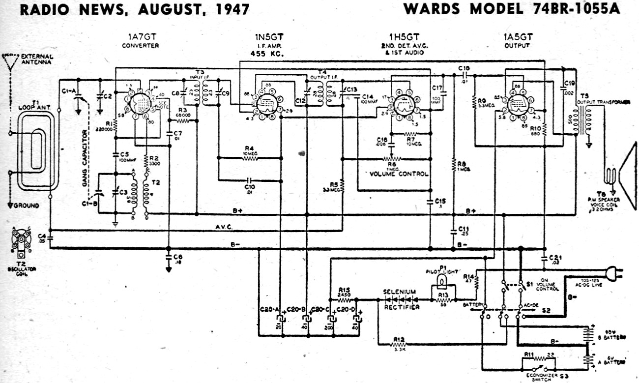 Wards Model 74br A Schematic Amp Parts List August