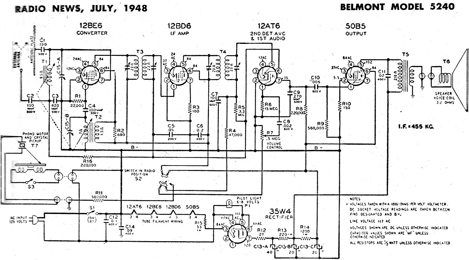 Belmont Model Schematic Amp Parts List July Radio