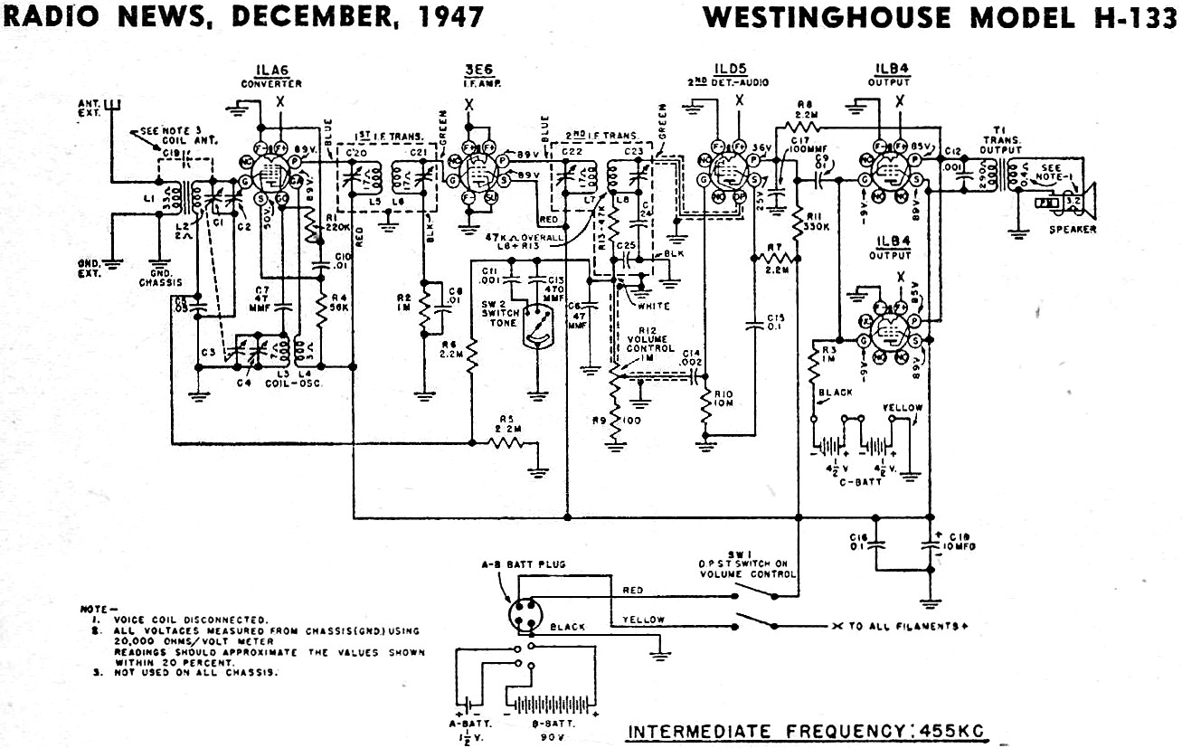 Westinghouse Model H 133 Schematic Amp Parts List December Radio News