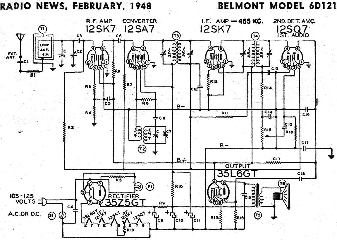 Belmont Model 6d121 Schematic Amp Parts List February Radio News