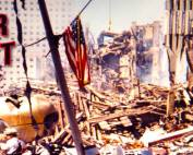 9 11 2001 WTC Tower Collapsed antenna and flag