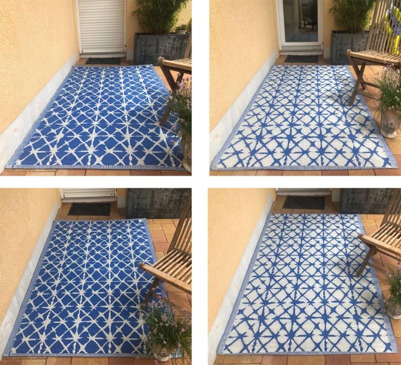 Outdoor Teppich Santorini Blau-Weiß 120x180cm