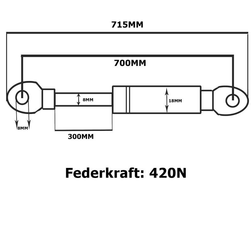 Universal Gasdruckfeder Gasdruckdämpfer Gasfeder