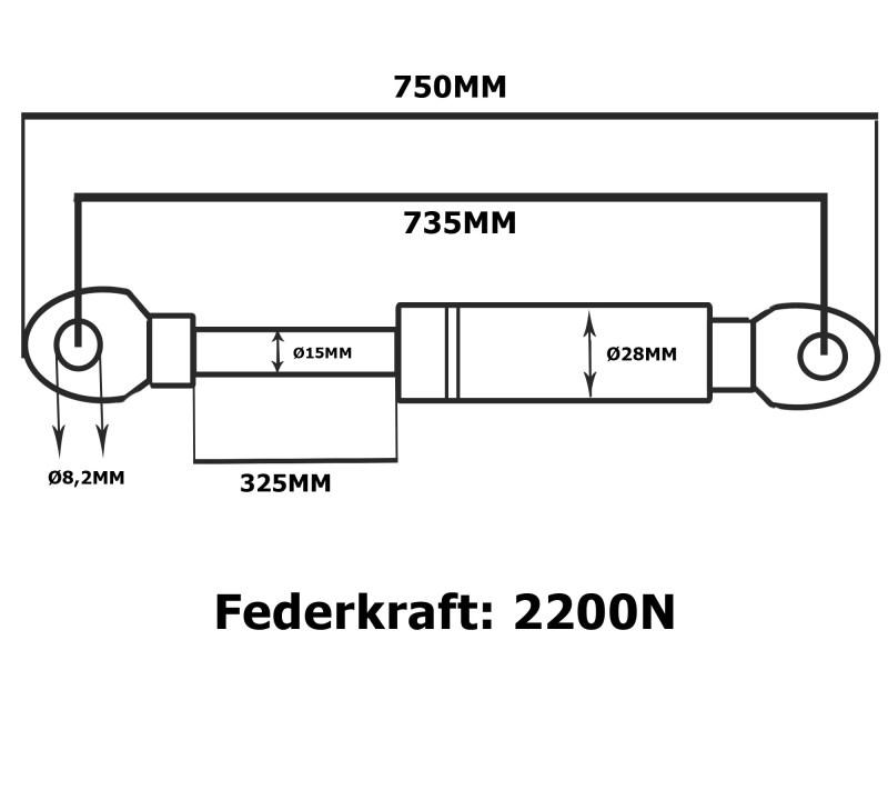 Gasdruckfeder Gasdruckdämpfer Gasfeder Anhänger 2200N
