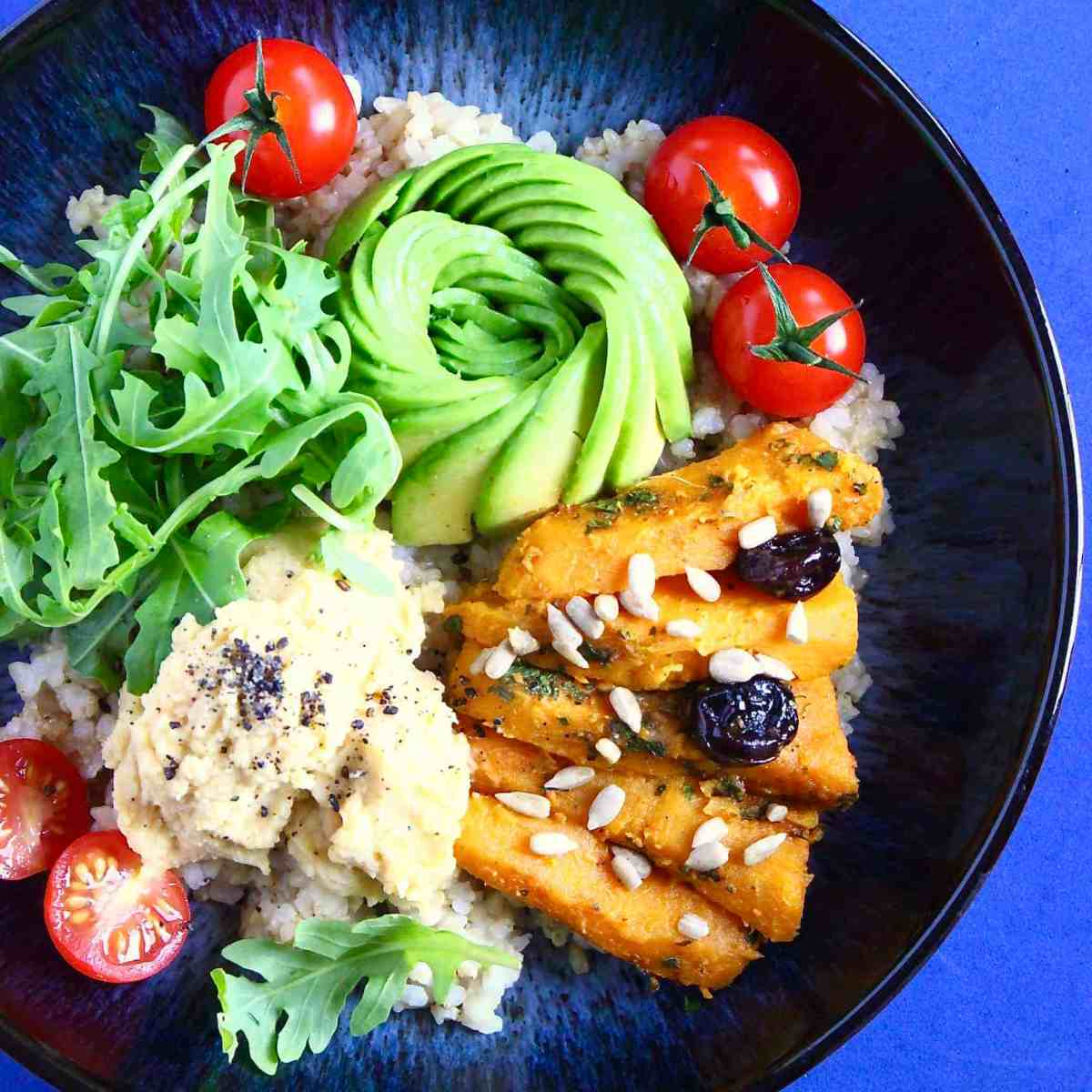 Spiced Sweet Potato & Hummus Buddha Bowl (Vegan + GF)