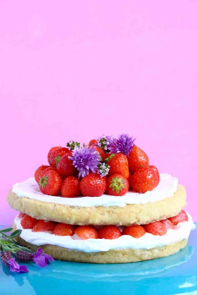vegan strawberry layer cake
