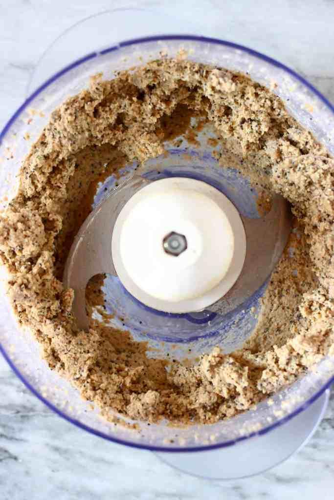 Raw cracker mixture in a food processor