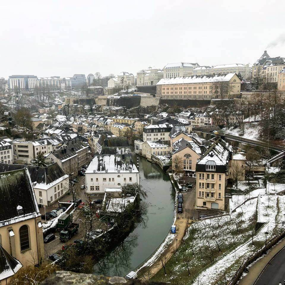 Luxembourg city covered in snow