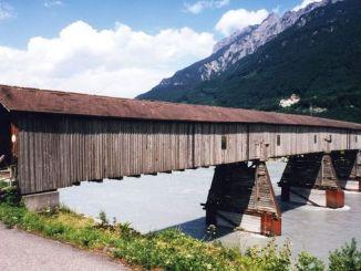 Old bridge over the Rhine, Vaduz, Liechtenstein