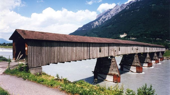 Old bridge over the Rhine, Vaduz, Liechtenstein