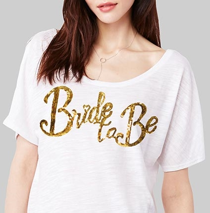 Bride To Be Gold Sequin Flowy T Shirt White Bridal T