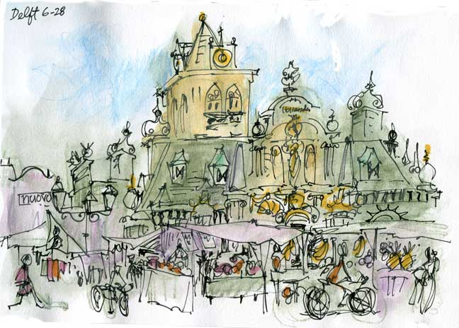 Quickk Sketch Of Delft, Holland Market Square