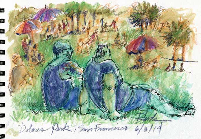Sketching Dolores Park, San Francisco
