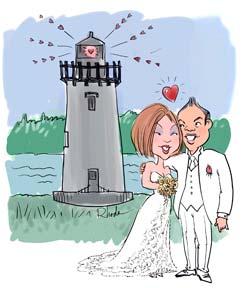 wedding caricature with a lighthouselighthouse