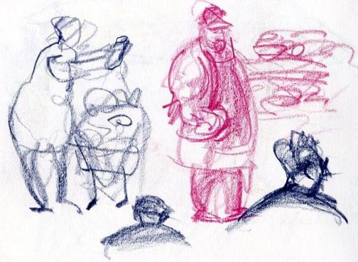 Sketching People At The Market