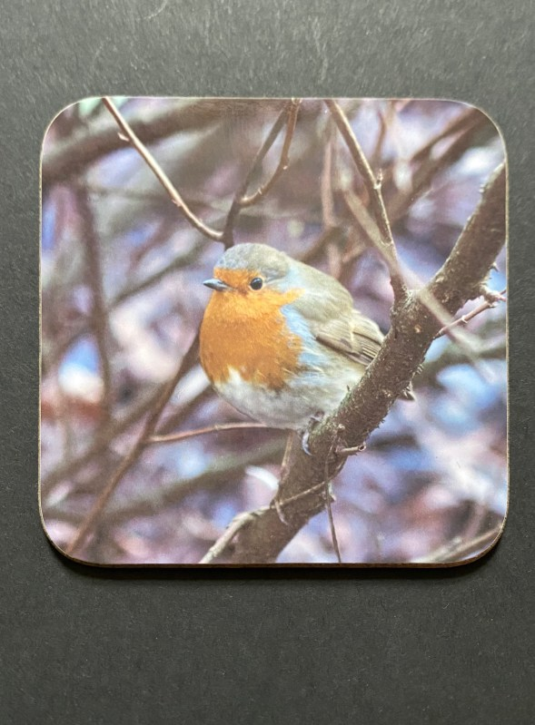 The Christmas Robin on a photographic hardboard coaster. Square hardboard coaster with rounded edges. Size: 90x90x3 mm Weight 0.1kg