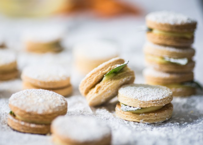 Meyer Lemon Alfajores with Fresh Mint