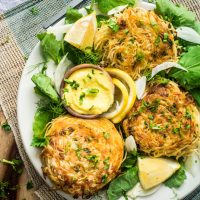 Angel Hair Crab Cakes with Saffron Aioli
