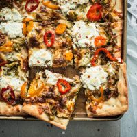 Sicilian-Style Pizza w/ Roasted Brussels Sprouts & Banana Peppers