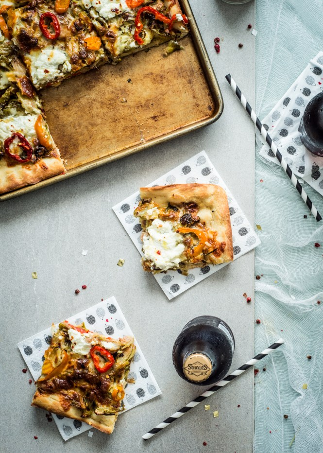 Sicilian-Style Pizza with Roasted Brussels Sprouts and Banana Peppers