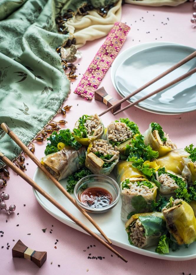 Ginger Tofu Fresh Rolls with Sesame Soba Noodles
