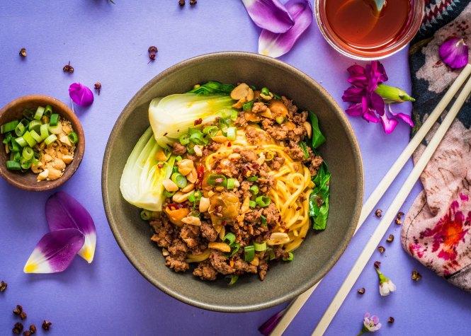 Lamb Dan Dan Noodles with Steamed Bok Choy