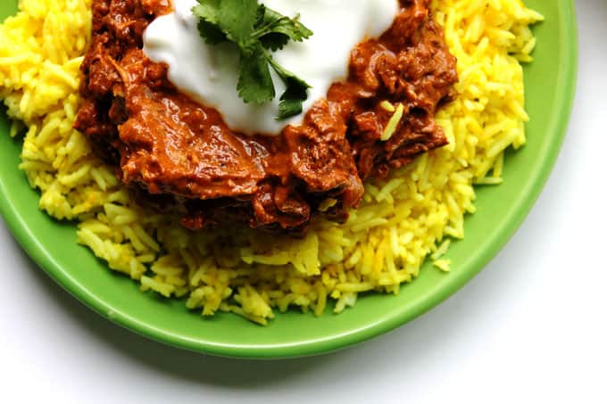 spicy indian chicken curry with lemon ginger rice and garlic yogurt