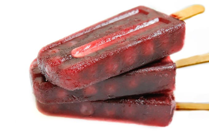 Red wine and grape popsicles