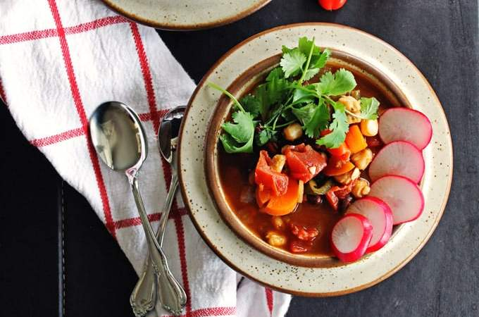 Black bean and poblano pozole