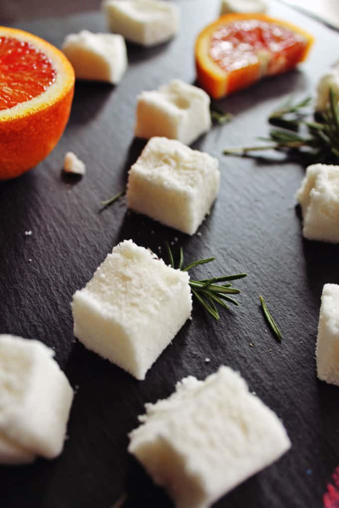 Blood orange bitters and rosemary sugar cubes