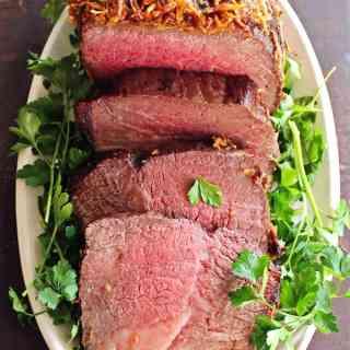 Brown sugar horseradish crusted roast beef