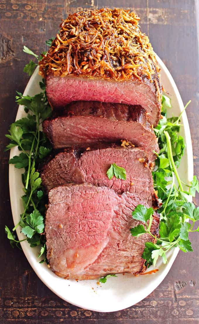 Brown sugar horseradish crusted roast beef