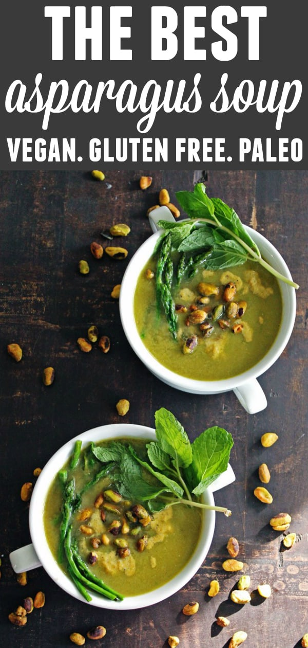 30-minute vegan asparagus soup recipe from The Healthy Mind cookbook! Topped with pistachio cream, this is the best soup you will ever eat. // Rhubarbarians