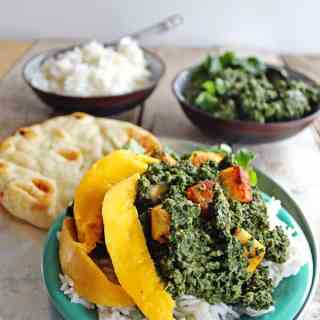 Kale saag paneer with mango