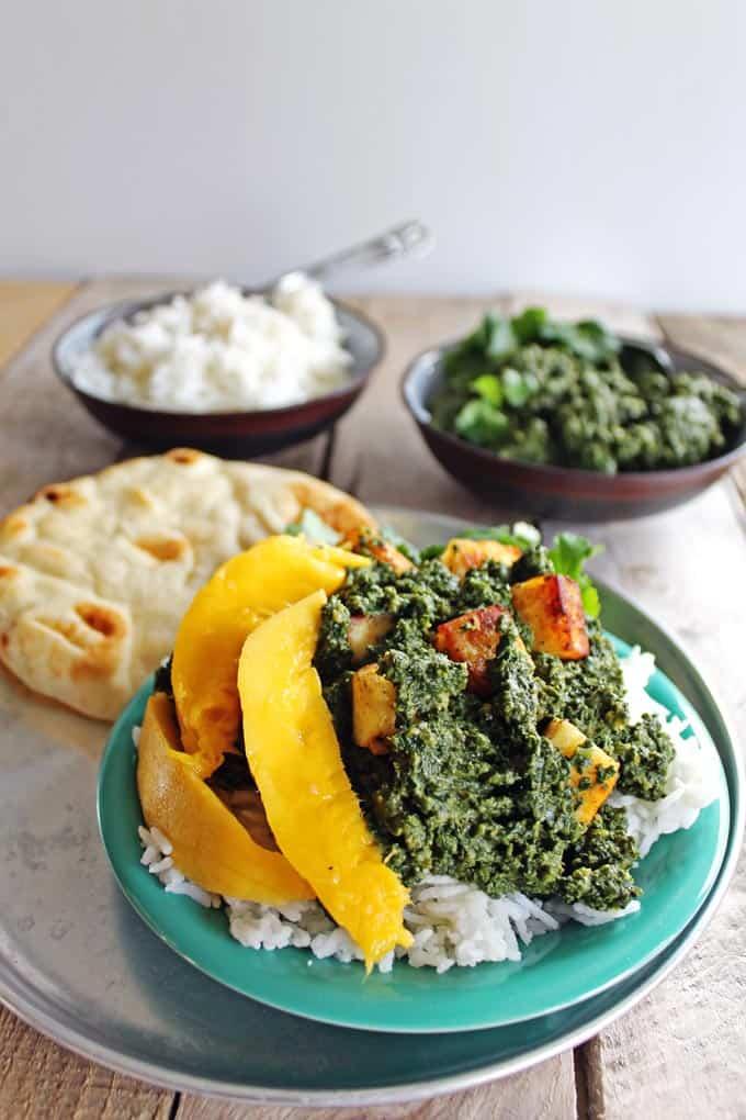 Kale saag paneer with mango